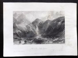 Allom France 1840 Antique Print. Lake d'Oo, High Pyrenees